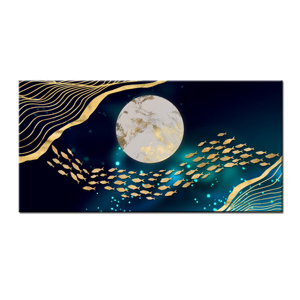 Wall Art Gifts Hot series Modern Abstract Gold Feng Shui Koi Fish Painting Printed On Canvas Picture office Living Room Home Decor BFS4019