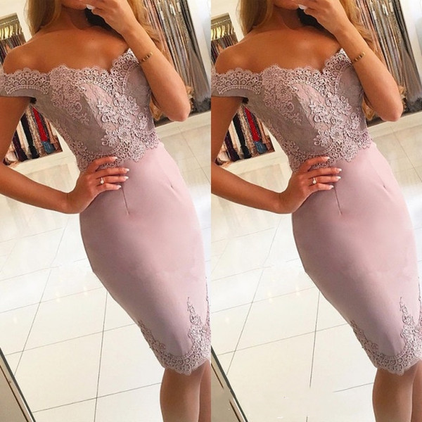 Elegant Off-the-Shoulder Short Prom Dresses 2019 Lace Mermaid Homecoming Dress Formal Evening Gowns Cocktail Ball Party Gown