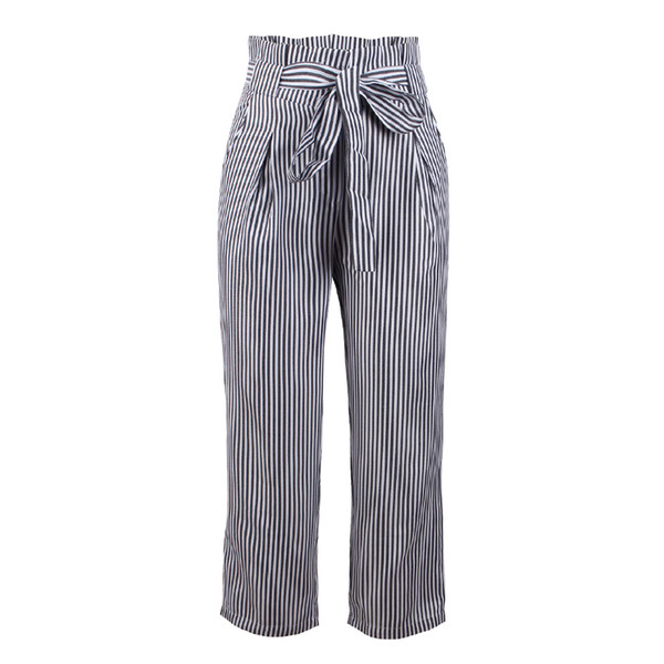 Women Slim Striped Pants Soft Long Pants Skinny High Waist Paper Fabala Casual Lace Up With Belt Cigarette Trousers