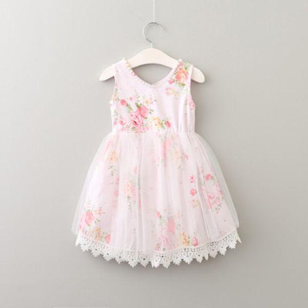 Baby Girls Broken Flower Lace Tutu Dress 2017 New Summer Dresses Childrens Sleeveless for Kids Clothing Party Dress 3 Colors