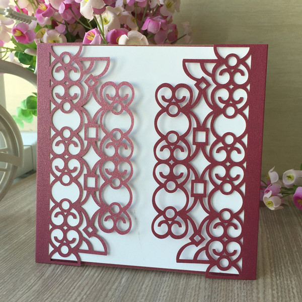 15PCS /lot Hollow Ring And Heart Pearl Paper Wedding Invitation Cards With Ceremony Grand Events Anything Activity Using
