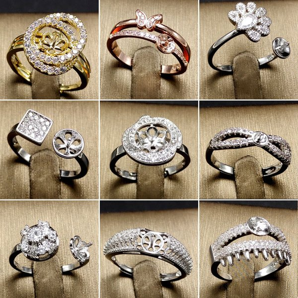 top popular DIY Pearl Ring Settings 925 Sliver Rings Settings DIY Rings for women Adjustable size Jewelry Settings Christmas GIFT Statement Jewelry 2019
