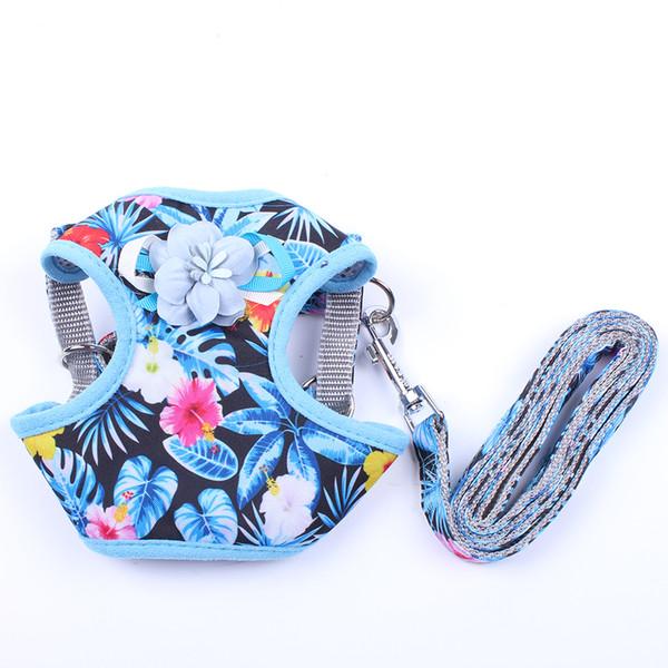 Hund Katze Floral HarnessLeash Set Haustier Hundegeschirr Weiche Weste Mesh Walk Collar 3 Größen 4 Farben erhältlich