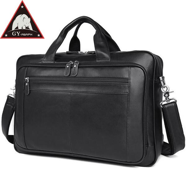 ANAPH Мужской Портфель Сумка из Натуральной Кожи Бизнес мужской Портфель для 17-дюймового Ноутбука Большой Емкости Высочайшее Качество В Черном # 802261