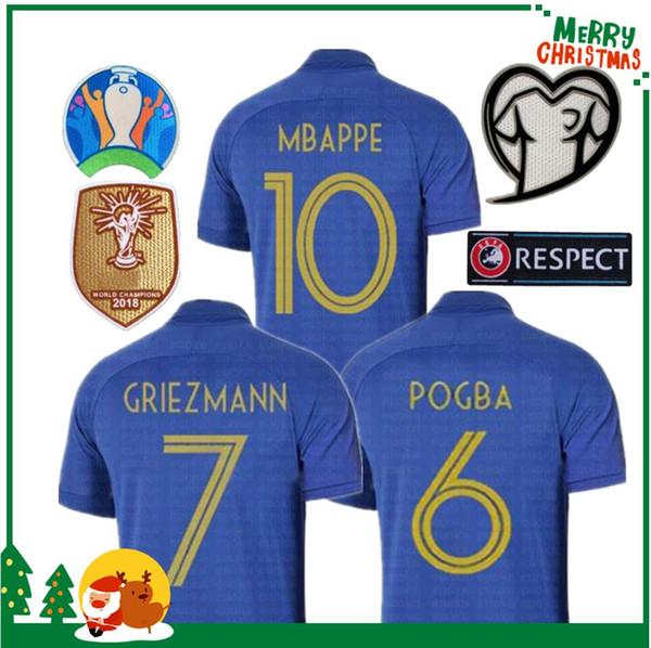 Francia MBAPPE GRIEZMANN POGBA camisetas 2019 100 aniversario Camiseta de fútbol Marina de fútbol Camisetas LEMAR Equipe coupé 2018 kit maillot de foot