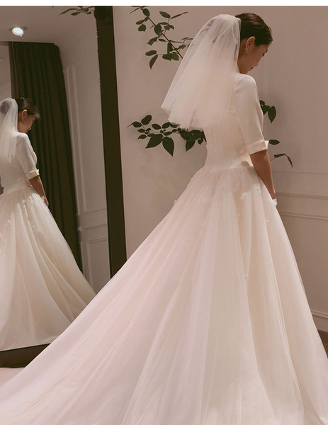 New Luxury Wedding Dress Satin Half Sleeve With Train V neck Formal Church Vintage Bride Wedding Gown Vestido Novia Fashion 2019