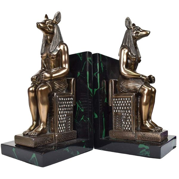 MASCARELLO Bronze Statue Sculptural Bookends,Set of Two Polyresin Anubis the Jackal God Egyptian Table Top Home Sculpture Decor Gifts