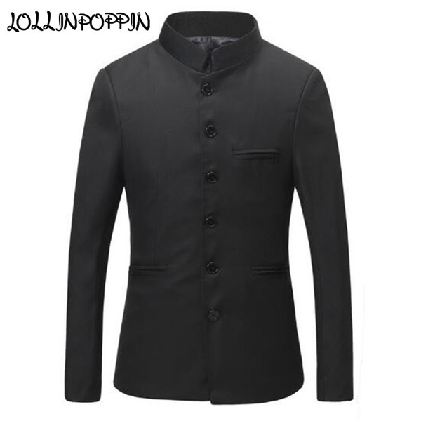 Chinese Collar Black Suit Jacket Men Mandarin Collar Tunic Suit Jacket Mens Traditional Wedding Tang Jackets #556073