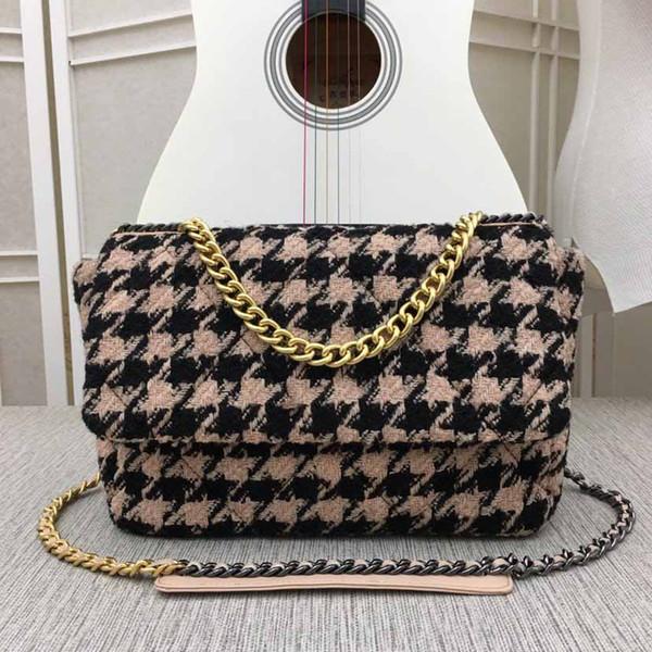 Winter designer handbag slant span bag luxury chain bag top wool purse rhombic V-grid single shoulder bag