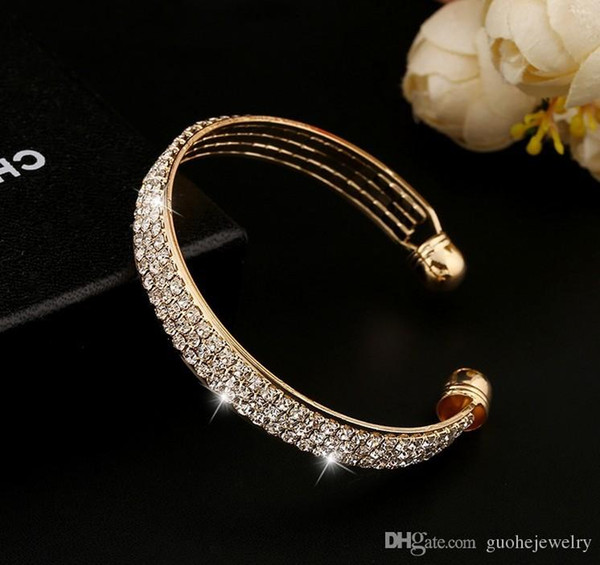 New arrival bracelets for women Simple and stylish Bangles 3-row full crystal bracelets free shipping