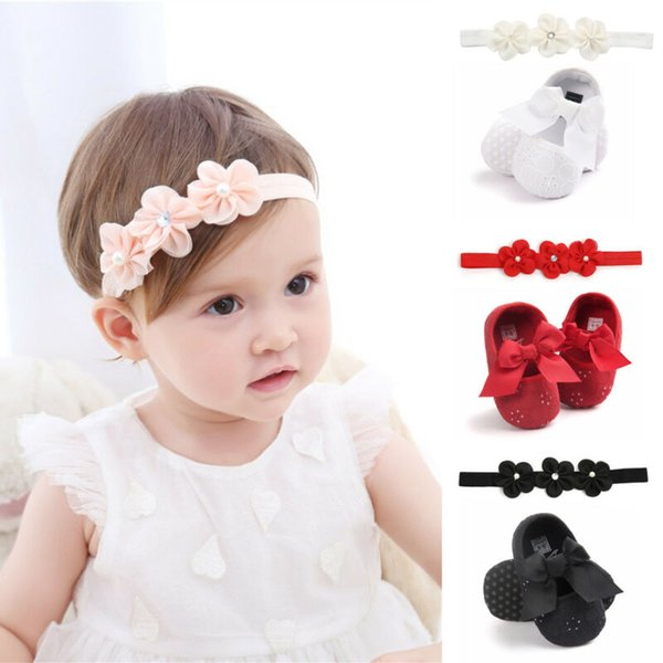 Fashion Infant Baby Girl Princess Crib Flat Anti Slip Party Solid Shoes +  Flower Headband Sets Dress Shoes For Kids Toddler Casual Shoes From ...