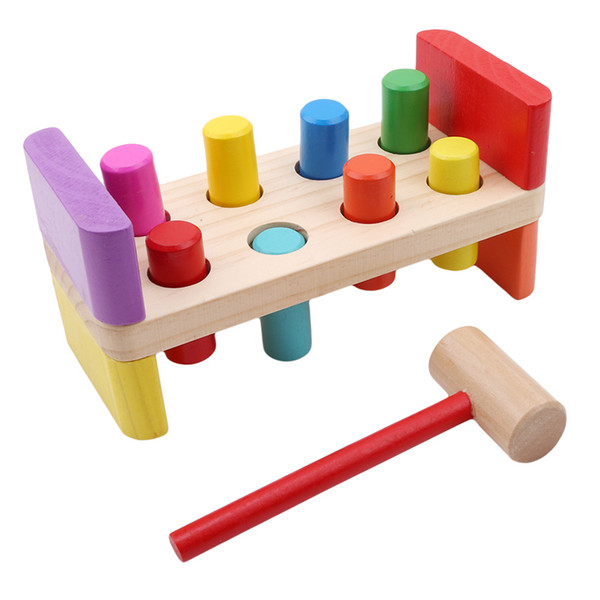 Baby Wooden Noise Maker Knock Ball Kids Hand Hammering Ball Box Kids Early Learning Educational Toys Montessor Birthday Gift Y19062803