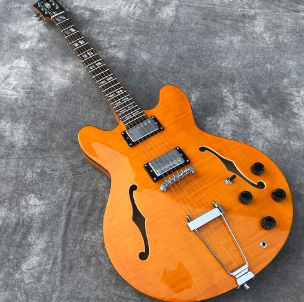 In Stock Semi Hollow Body Jazz Electric Guitar in Orange-yellow Flame Maple Top, Brown pearl binding, Archtop Guitarra