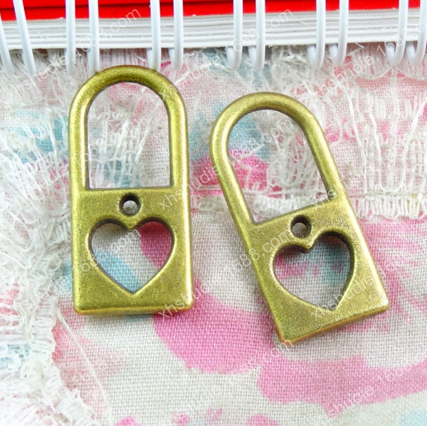 50pcs 26*12MM antique bronze tibetan fashion alloy heart lock charms for bracelet vintage metal pendants earring handmade DIY jewelry making