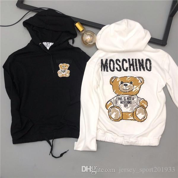 19AW paris Moschinos Hoodie manga comprida moletom bordado Moda Roupa Streetwear Jacket Casual Brasão Moletons Outdoor Mulheres Homens