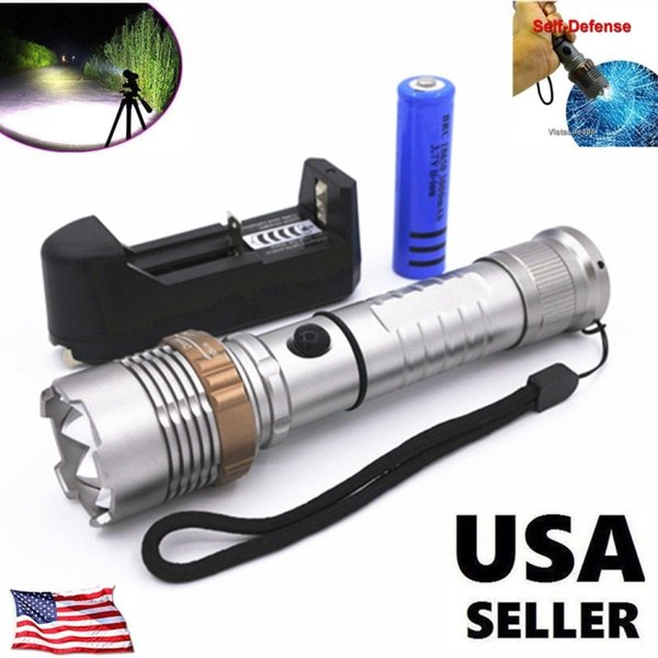 Power Tactical LED Flashlight T6 flashlight T63 sliver Rechargeable Camping Torch+ 18650 Battery+single Charger set from USA
