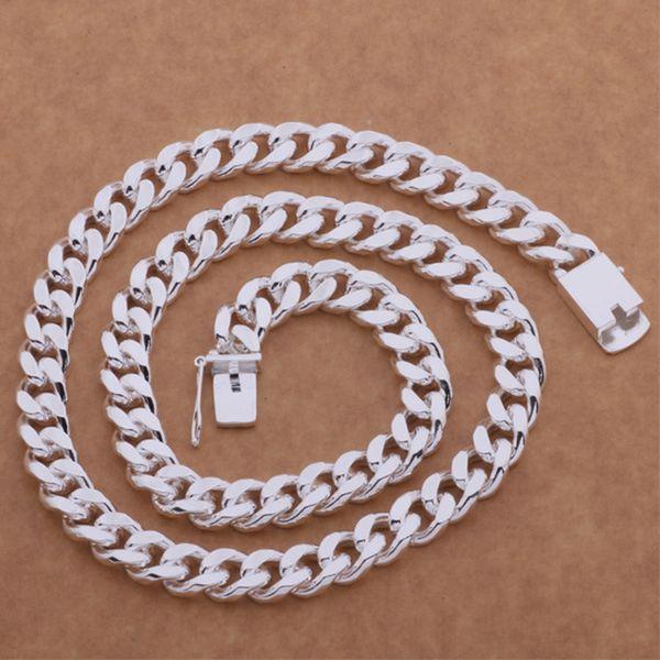 Хип-хоп платиновая цепь ожерелье цепь 20inch-24inch мужские панк посеребренная нержавеющая сталь Куба цепи ожерелье