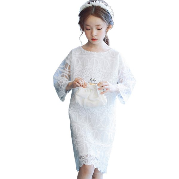Lace Long Sleeve Wedding Pageant Flower Girl Dress Princess Dress for Kids 2-12 Year Old
