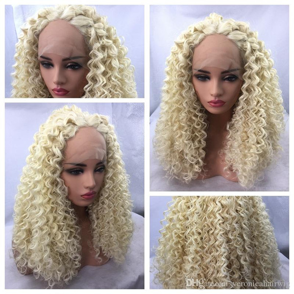 Hot Sexy 613# Blonde Afro Kinky Curly Lace Front Long Wigs Heat Resistant Gluelese Synthetic Lace Front Wigs for Black Women