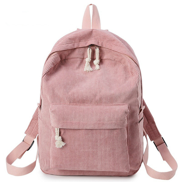 Hot Sales Preppy Style Soft Fabric Backpack Female Corduroy Design School Backpack for Teenage Girls Striped Women