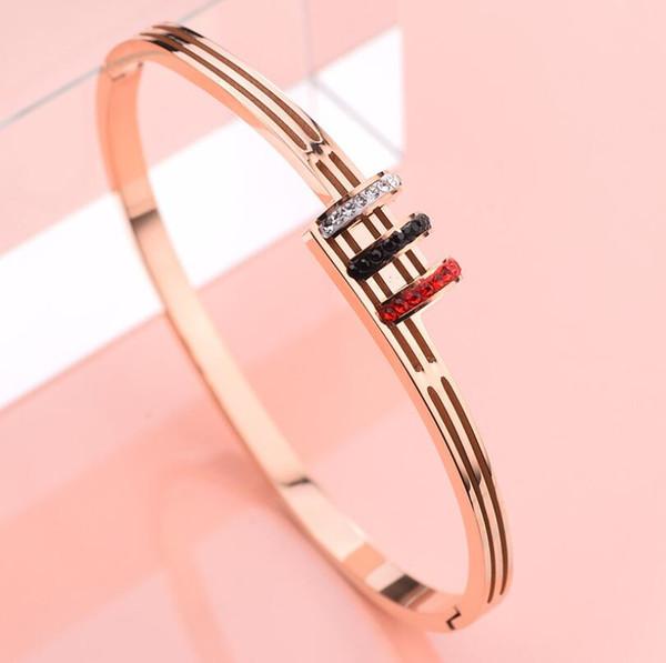 2019 mode heiße art schmuck diamant rose gold titan armband frauen neue persönlichkeit stahl armband