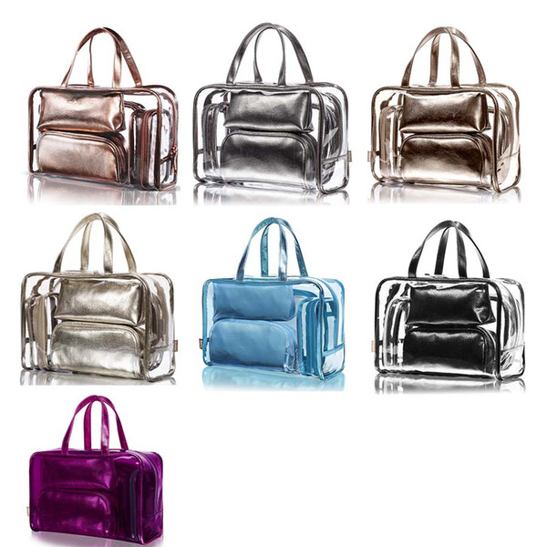 New High Quality Transparent Causal Fashion Large Capacity Cosmetics Jelly Composite Bag For Women Lady 7 Colors