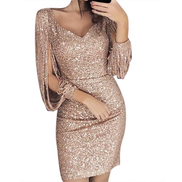 2019 Summer Dress For Women Sexy Solid Sequined Stitching Shining V Neck Club Sheath Long Sleeved Mini Dress vestido zanzea