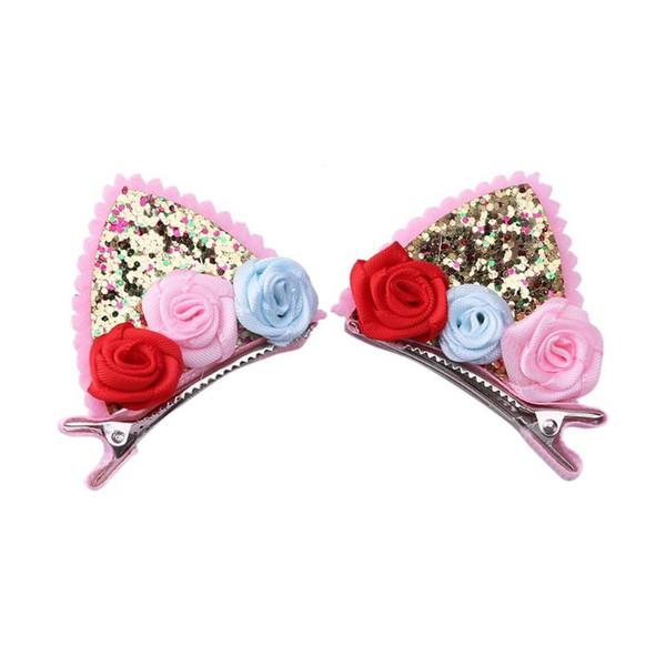 2pcs Cute Hairpin Girls Flower Glitter Sequins Hair Clip Kids Birthday Party Hair Accessories Ornaments Headwear barber accessor