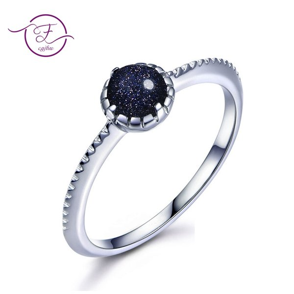 100% 925 Sterling Silver Vintage Solitaire Round Natural Stone Blue Sand  Sun Ring For Women Fine Jewelry Gifts Wholesale Men Wedding Bands Wedding