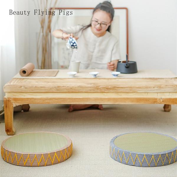 Doğrudan futon yastık halı kalın tatami mat Japon tarzı hasır ev oturma yastık meditasyon mat dekoratif