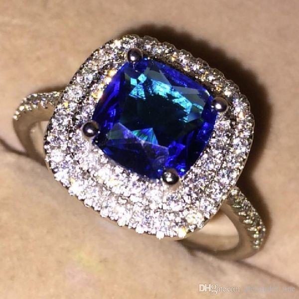 Moda 10KT joyería llena de oro blanco Azul CZ 2 Surround Ajuste de pavimento Anillos de piedras preciosas de diamantes simulados Anillos de alianzas de boda dedo para mujeres