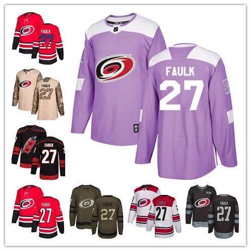 Carolina Hurricanes Trikots # 27 Justin Faulk Trikot Hockey Herren Damen Jugend Authentic Schwarz Alternate rot Zuhause weiß entfernt Stiched Trikots