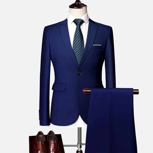 Asia size S-6XL formal men Blazer jacket and pants 10 color selection mens dress two piece set 2019 mens suits