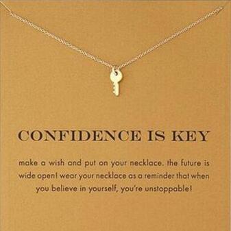 Con tarjeta! Collar Dogeared lindo de color plateado y dorado con llave (la confianza es la clave) Collares pendientes Llavero inspirador