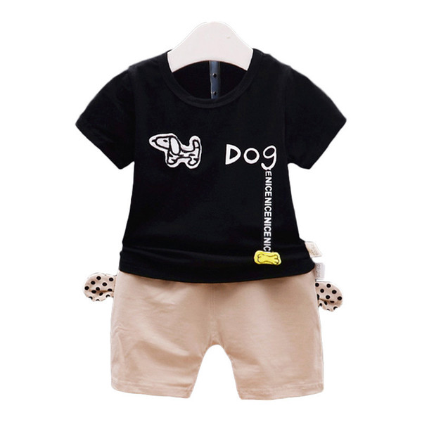 Summer Boy Clothes New Cotton Baby Set Cartoon Dog T-shirt + shorts 2 piece Baby boy suit Kids clothes