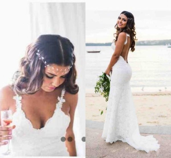 2019 vestidos de novia bohemios baratos Novia Sexy sirena correas espaguetis hasta el suelo sin respaldo de encaje completo vestidos de novia