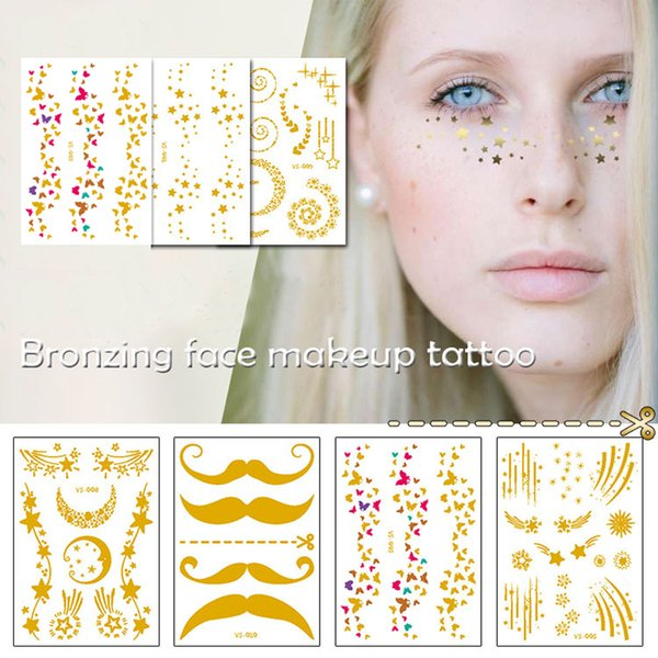 10 style Gold Face Tattoo Flash tattoo Fashion Waterproof Blocked Freckles Make Up Body Art Stickers eye decals Bride tribe party