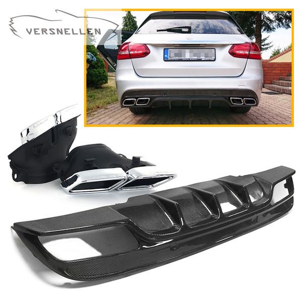 Travel version C Class W205 C63 AMG FD Carbon Fiber Diffuser Rear Bumper for Mercedes Benz W205 C63 AMG Bumper 4Door 2015-2018