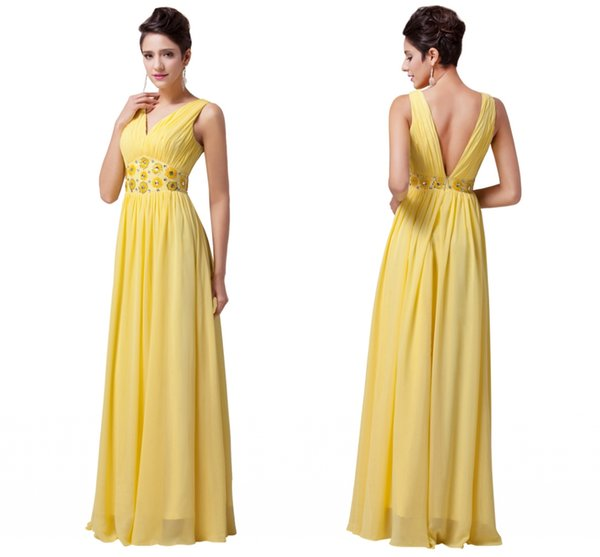 Cheap Free Shipping Custom Made Plus Size Yellow Evening Dresses Long V Neck Prom Gowns Formal Dresses Dinner Party Robe De Soiree DH1376