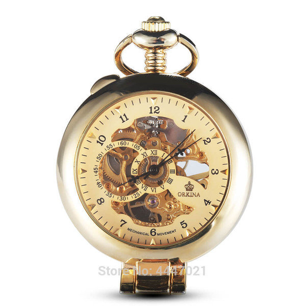 Smooth Magnifier Pocket Watches Steampunk Hand-winding Skeleton Mechanical Fob Watch Chains Pendant Men Women Gift C19010301