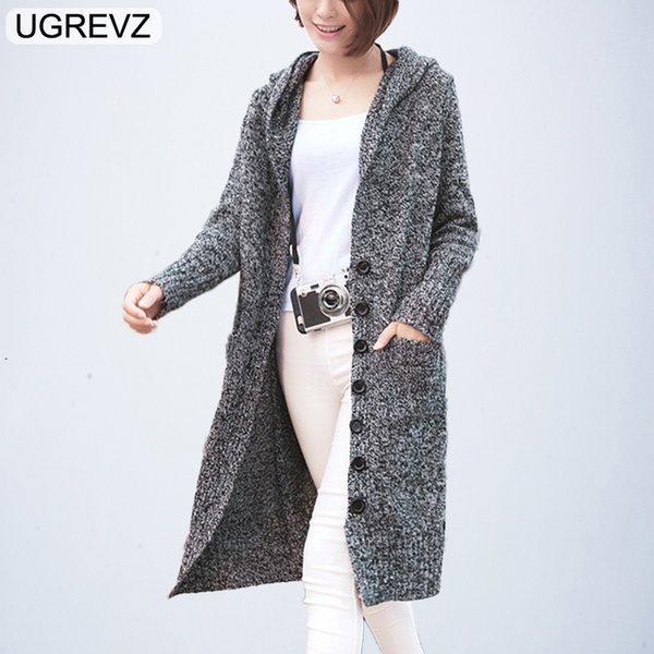 Hooded Long Cardigan Winter Knitted Loose Sweater Cardigan Female 2019 Casual Autumn Sweater Women Long Warm knitted Coat Tops L
