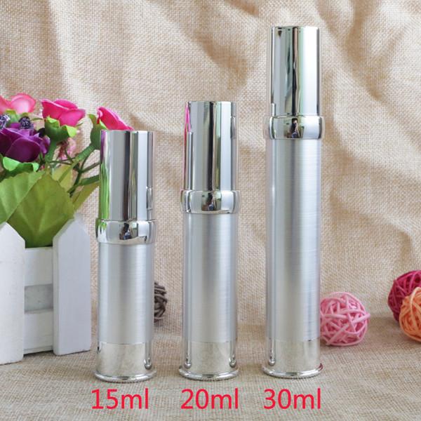 15 ml 20 ml 30 ml de plástico sem ar loção bomba de recipientes de embalagens de garrafas de prata diy maquiagem essencial ferramentas garrafa recarregável 10 pcs