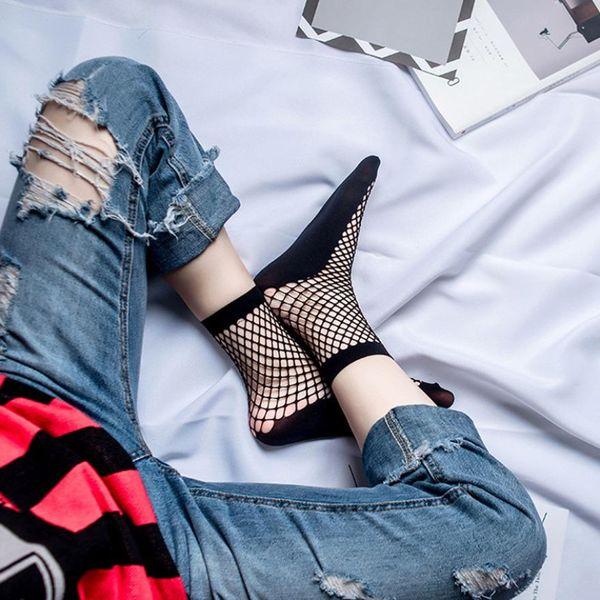 Summer Style Women's Sexy Lace Fishnet Ankle Short black half Socks cycling socks Bow Funny Ladies In The Net Sokken