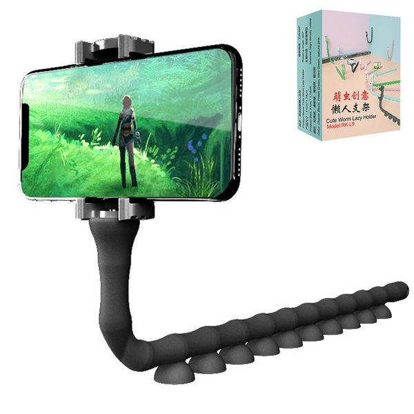 Multifunctional Worm Phone Holders Long Arm Lazy Phone Stands With Silicone Suction Cup Mount Holder Brackets Mobile Phone Support Grip Gift