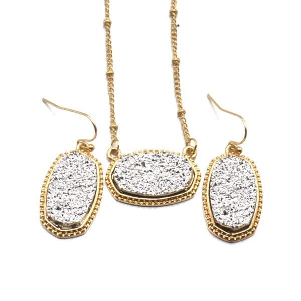 11 colors Kendra Drusy Druzy Necklace Scott Dangle Earrings Jewelry Set Gold Plated Druse Choker Women Wedding Party