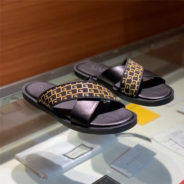 Fashion slide sandals slippers for men WITH ORIGINAL BOX 2019 Hot Designer printed men beach flip flops flat slippers 3 Colors