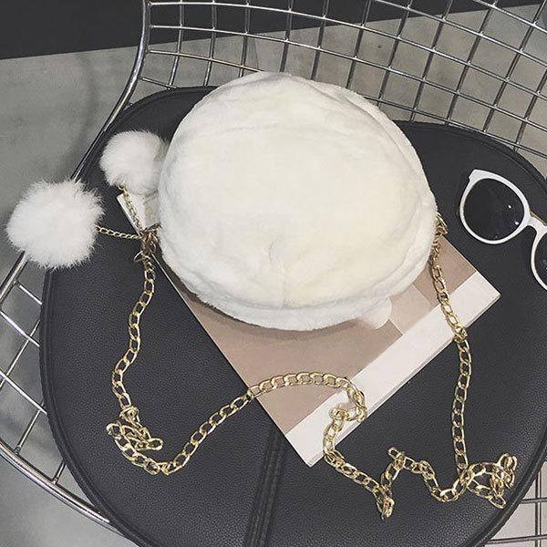 Sweet Ladies Girls Faux Rabbit Fur Messenger Crossbody Bag Small Handbag Autumn Winter Women Plush Chains Shoulder Bags good quality