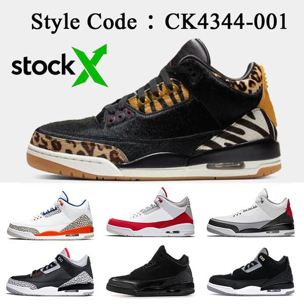 Jumpman Nike Air Jordan Retro 3 3s Scarpe da basket da uomo di alta qualità 3s Animal Pack Instinct Knicks Rivals Tinker Sneaker da uomo in cemento nero
