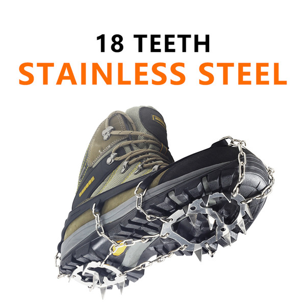 Stainless Steel 18 Teeth Universal Anti Slip Ice Snow Shoe Boot Grips Traction Cleats Crampon Spikes