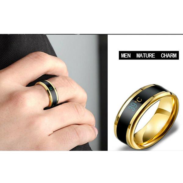 2019 Mode intelligent en acier inoxydable Couple intelligent de température Mood Ring nouvelle température Bague affichage